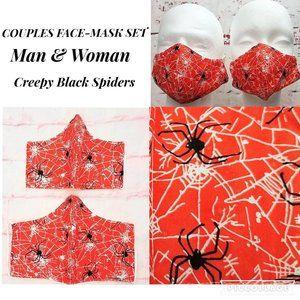 Bundle 2 Creepy Spiders FACE MASKS - Couple Set